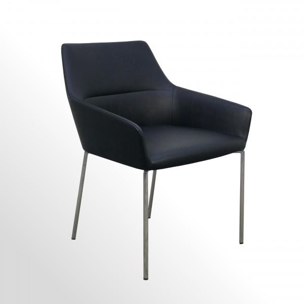 Günstiger Premium-Besucher- und Konferenzstuhl - Leder schwarz - 4-Fuß