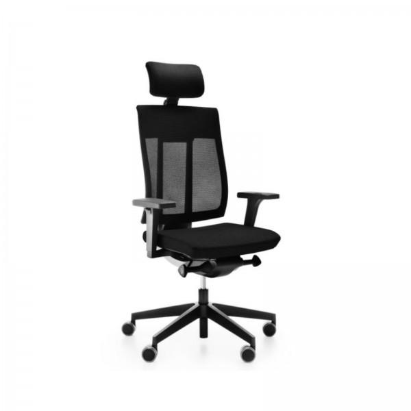 Günstiger Bürodrehstuhl mit Kopfstütze und Netzrücken - schwarz