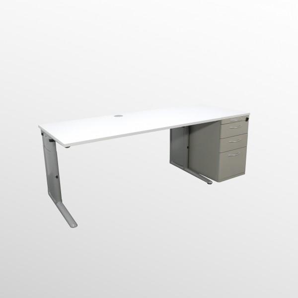 Schreibtisch-Standcontainer Set mit neuer Abdeck- u. Arbeitsplatte - weiß **SET**