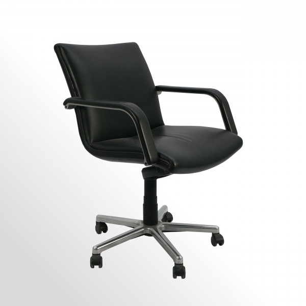 Gebrauchter Artifort Besucher- und Konferenzstuhl - Leder schwarz - drehbar auf Rollen