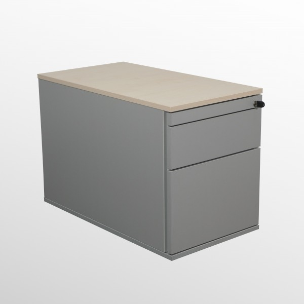 Gebrauchter Haworth Rollcontainer mit Hängeregistraturlade - Ahorn Deckboden / Korpus: Silberfarben
