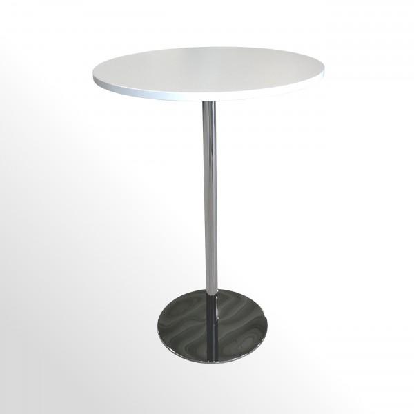 Günstiger Besprechungstisch - Stehtisch - Ø 800 mm - Weiß/Chrom