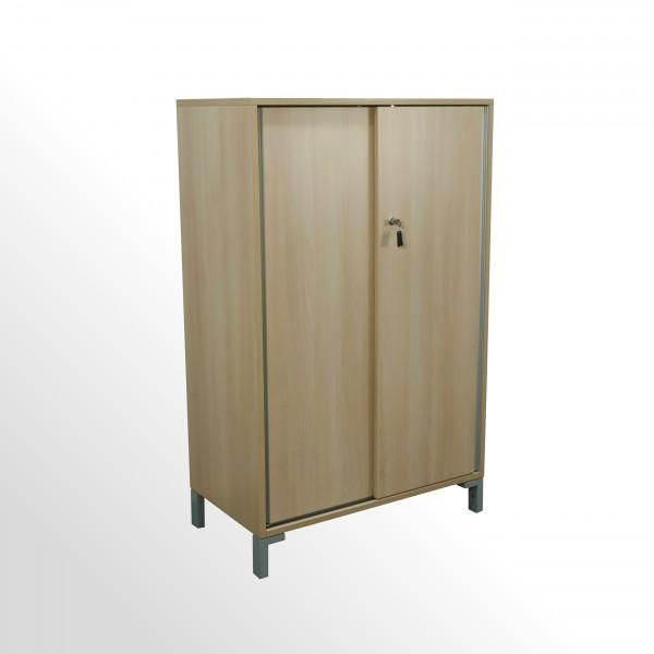 Gebrauchter Steelcase Schiebetürenschrank - Aktenschrank - 3 Ordnerhöhen - Akazie Dekor