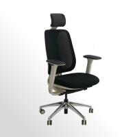 Gebrauchter, ergonomischer Bürodrehstuhl mit Netzrücken und Kopfstütze