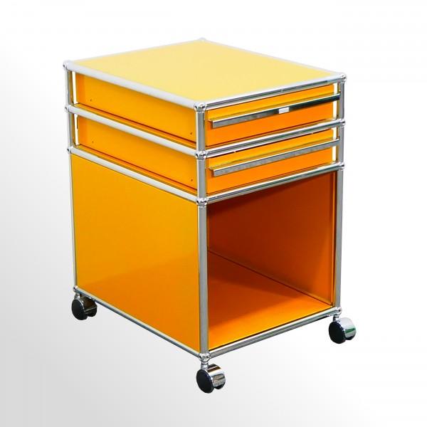 Gebrauchter USM Haller Rollcontainer - Goldgelb - 2x Schublade   1x Gefach offen