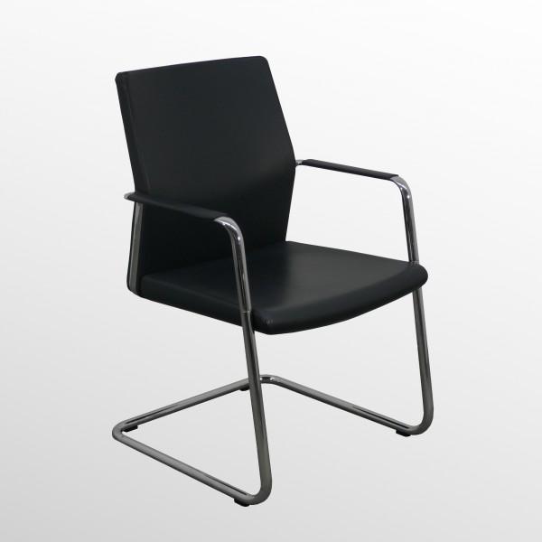 Premium-Besucher- und Konferenzstuhl - Freischwinger - Leder schwarz