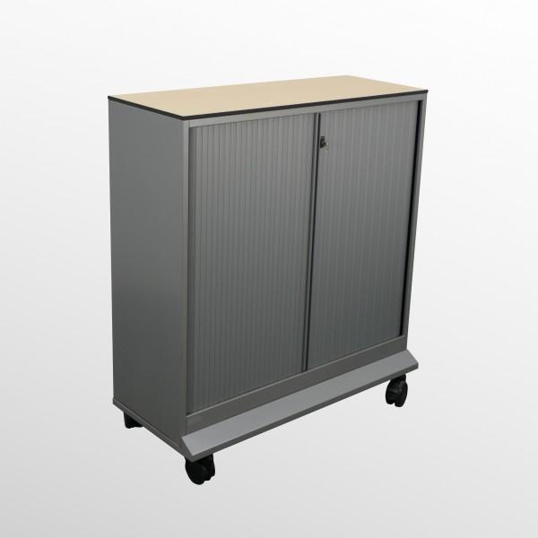 Gebrauchter Ahrend Rollladenschrank auf Rollen - B 1200 mm - Ahorn/Silberfarben