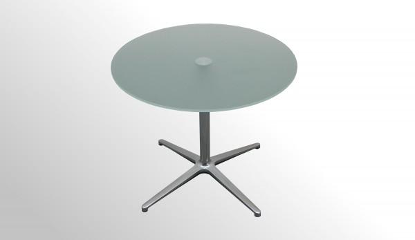 Günstiger Besprechungstisch - Beistelltisch - Milchglasplatte Ø 750 mm