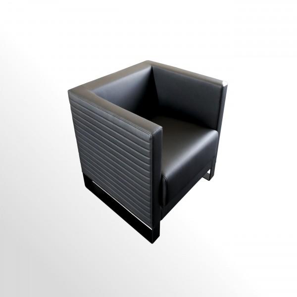 Design-Loungesessel mit Außensteppung - Leder schwarz