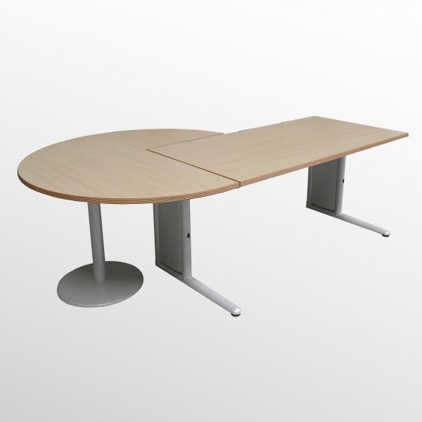 Gebrauchter Werndl Schreibtisch mit Besprechungsanbau - Königsahorn Dekor